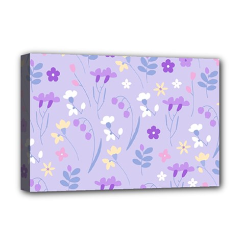 Violet,lavender,cute,floral,pink,purple,pattern,girly,modern,trendy Deluxe Canvas 18  X 12   by 8fugoso