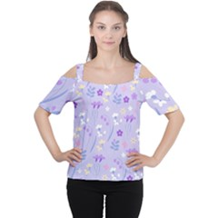 Violet,lavender,cute,floral,pink,purple,pattern,girly,modern,trendy Cutout Shoulder Tee by 8fugoso