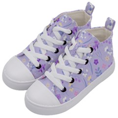 Violet,lavender,cute,floral,pink,purple,pattern,girly,modern,trendy Kid s Mid Top Canvas Sneakers by 8fugoso