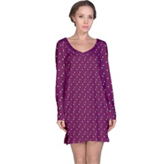 Pink Flowers Magenta Long Sleeve Nightdress