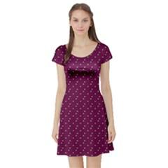 Pink Flowers Magenta Short Sleeve Skater Dress