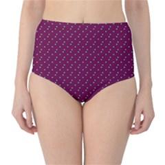 Pink Flowers Magenta High-Waist Bikini Bottoms