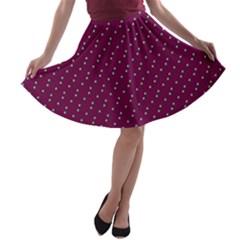 Pink Flowers Magenta A-line Skater Skirt