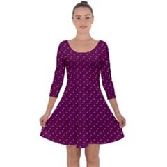 Pink Flowers Magenta Quarter Sleeve Skater Dress