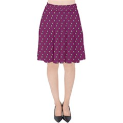 Pink Flowers Magenta Velvet High Waist Skirt by snowwhitegirl