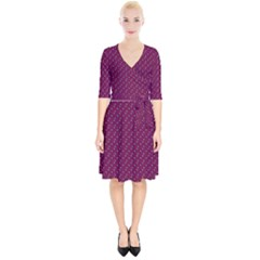 Pink Flowers Magenta Wrap Up Cocktail Dress
