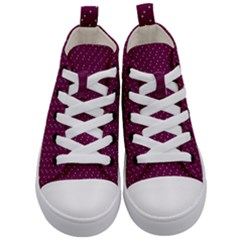 Pink Flowers Magenta Kid s Mid Top Canvas Sneakers
