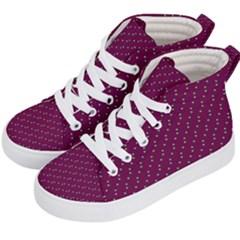 Pink Flowers Magenta Kid s Hi-Top Skate Sneakers