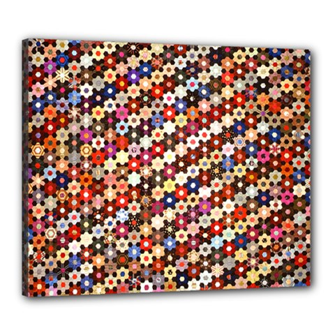 Mosaic Pattern Quilt Pattern Canvas 24  X 20  (stretched) by paulaoliveiradesign