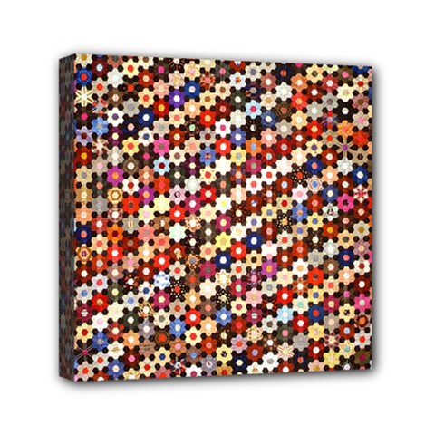 Mosaic Pattern Quilt Pattern Mini Canvas 6  X 6  (stretched) by paulaoliveiradesign