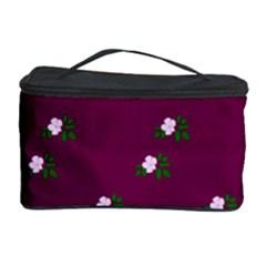 Pink Flowers Magenta Big Cosmetic Storage Case by snowwhitegirl