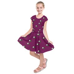 Pink Flowers Magenta Big Kids  Short Sleeve Dress
