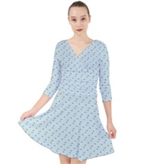 Pink Flowers Blue Quarter Sleeve Front Wrap Dress