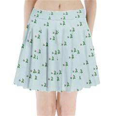 Pink Flowers Blue Big Pleated Mini Skirt
