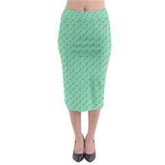 Pink Flowers Green Midi Pencil Skirt