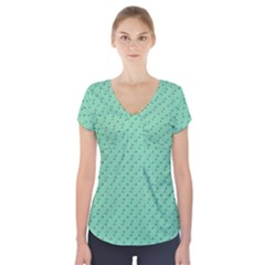 Pink Flowers Green Short Sleeve Front Detail Top
