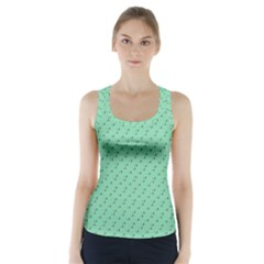 Pink Flowers Green Racer Back Sports Top