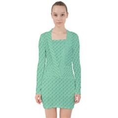 Pink Flowers Green V Neck Bodycon Long Sleeve Dress