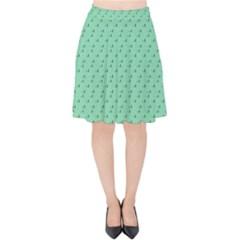 Pink Flowers Green Velvet High Waist Skirt by snowwhitegirl