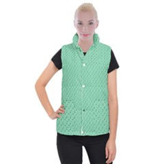 Pink Flowers Green Women s Button Up Puffer Vest
