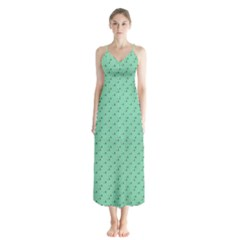 Pink Flowers Green Button Up Chiffon Maxi Dress