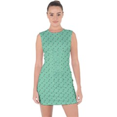 Pink Flowers Green Lace Up Front Bodycon Dress