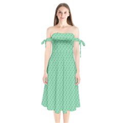 Pink Flowers Green Shoulder Tie Bardot Midi Dress