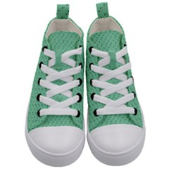 Pink Flowers Green Kid s Mid Top Canvas Sneakers