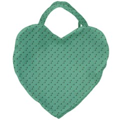 Pink Flowers Green Giant Heart Shaped Tote