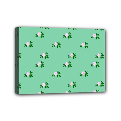 Pink Flowers Green Big Mini Canvas 7  X 5