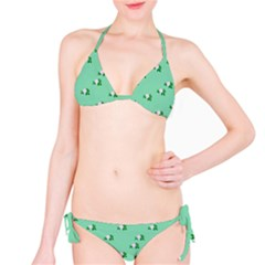 Pink Flowers Green Big Bikini Set