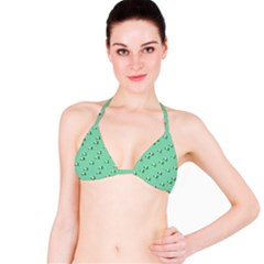 Pink Flowers Green Big Bikini Top by snowwhitegirl