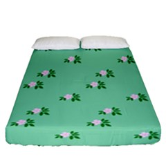 Pink Flowers Green Big Fitted Sheet (queen Size)