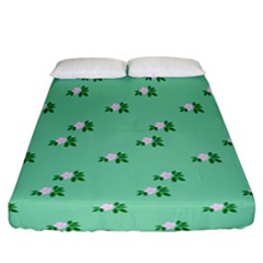 Pink Flowers Green Big Fitted Sheet (california King Size)