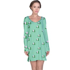 Pink Flowers Green Big Long Sleeve Nightdress