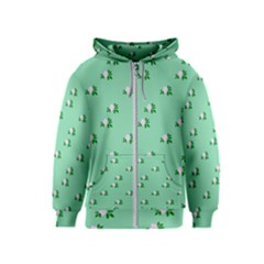 Pink Flowers Green Big Kids  Zipper Hoodie
