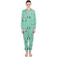 Pink Flowers Green Big Hooded Jumpsuit (ladies)