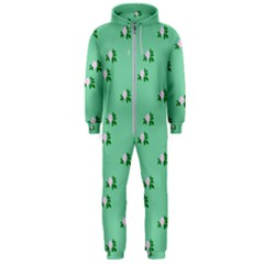 Pink Flowers Green Big Hooded Jumpsuit (men)