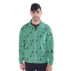 Pink Flowers Green Big Wind Breaker (men)