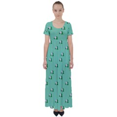 Pink Flowers Green Big High Waist Short Sleeve Maxi Dress