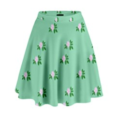 Pink Flowers Green Big High Waist Skirt