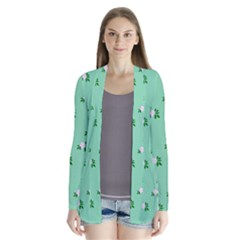 Pink Flowers Green Big Drape Collar Cardigan