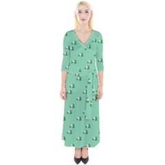 Pink Flowers Green Big Quarter Sleeve Wrap Maxi Dress