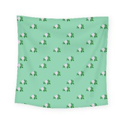 Pink Flowers Green Big Square Tapestry (small)