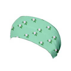 Pink Flowers Green Big Yoga Headband