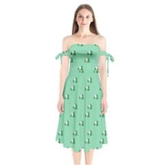 Pink Flowers Green Big Shoulder Tie Bardot Midi Dress