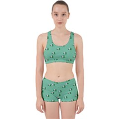 Pink Flowers Green Big Work It Out Sports Bra Set