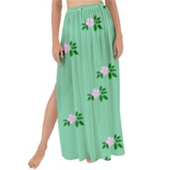 Pink Flowers Green Big Maxi Chiffon Tie Up Sarong