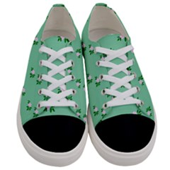 Pink Flowers Green Big Women s Low Top Canvas Sneakers