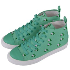 Pink Flowers Green Big Women s Mid Top Canvas Sneakers by snowwhitegirl